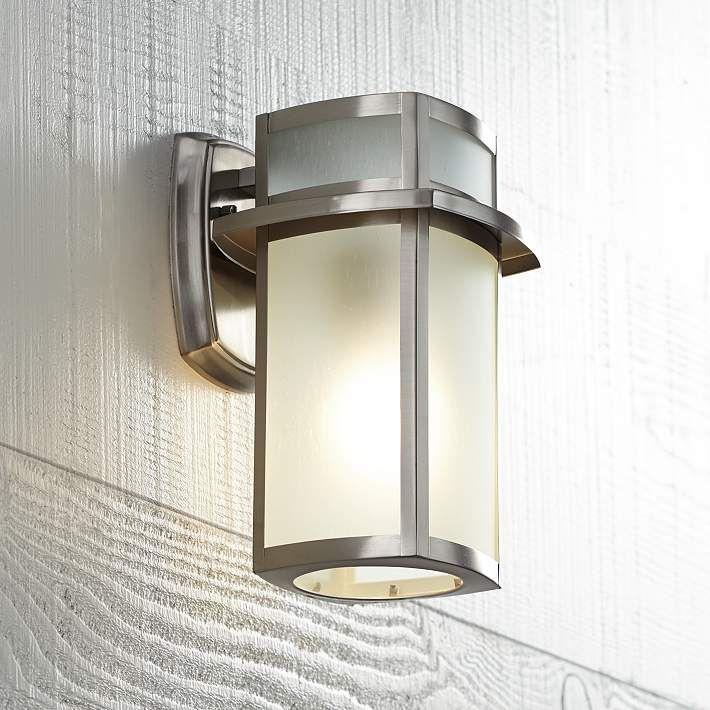 Delevan 11 1 4 High Brushed Nickel Outdoor Wall Light U1390 Lamps Plus Outdoor Wall Lighting Wall Lights Outdoor Light Fixtures