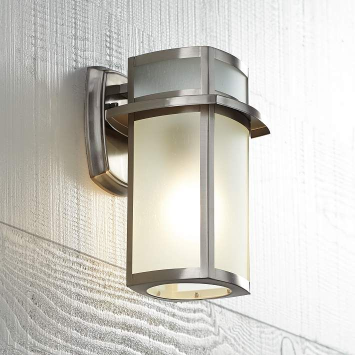 Delevan 11 1 4 High Brushed Nickel Outdoor Wall Light U1390