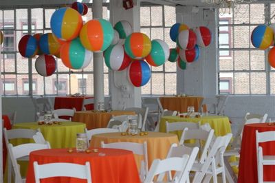 Colorful Table Linens And Bright Beach Balls As Decor With Images