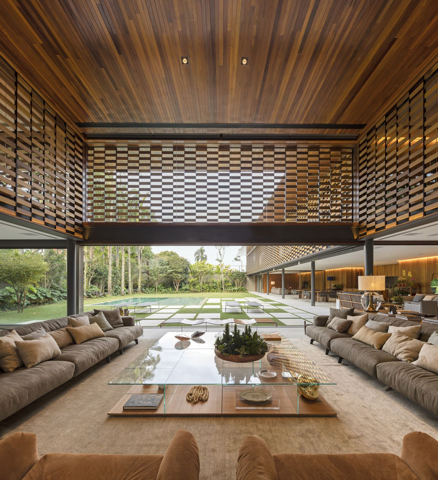 Lounge area partially shielded from the sun by a perforated
