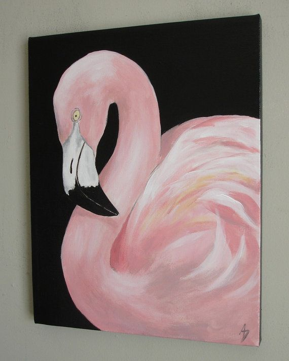 Pink Flamingo Wall Art Canvas Painting Tropical By