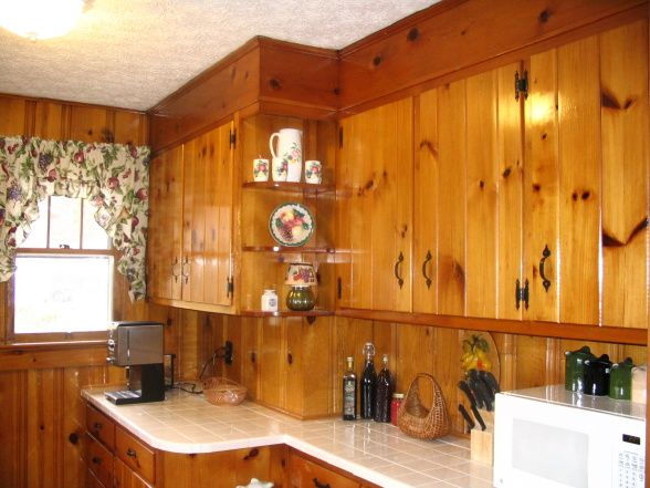 Vintage Knotty Pine Kitchens | Knotty Pine, Redid Knotty Pine Cabinets  Tiled Floor And Counter