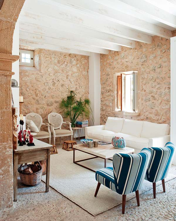 Modern Interior Design and Decorating in Mediterranean Style Emphacizing  Vintage Stone Walls