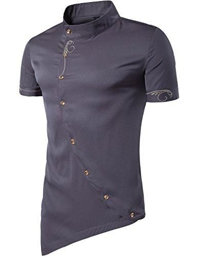 f8fdee30e Men's Hipster Casual Shirt Slim Fit Long Sleeve Button Down Dress Shirts  Tops Embroidery
