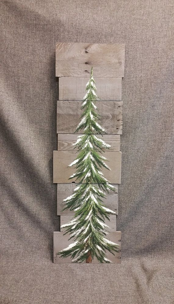 Pine Tree Christmas Tree Gray Reclaimed Wood Pallet Art Winter Snow Christmas Hand Painted Upcycled Wall Pallet Christmas Christmas Crafts Christmas Diy