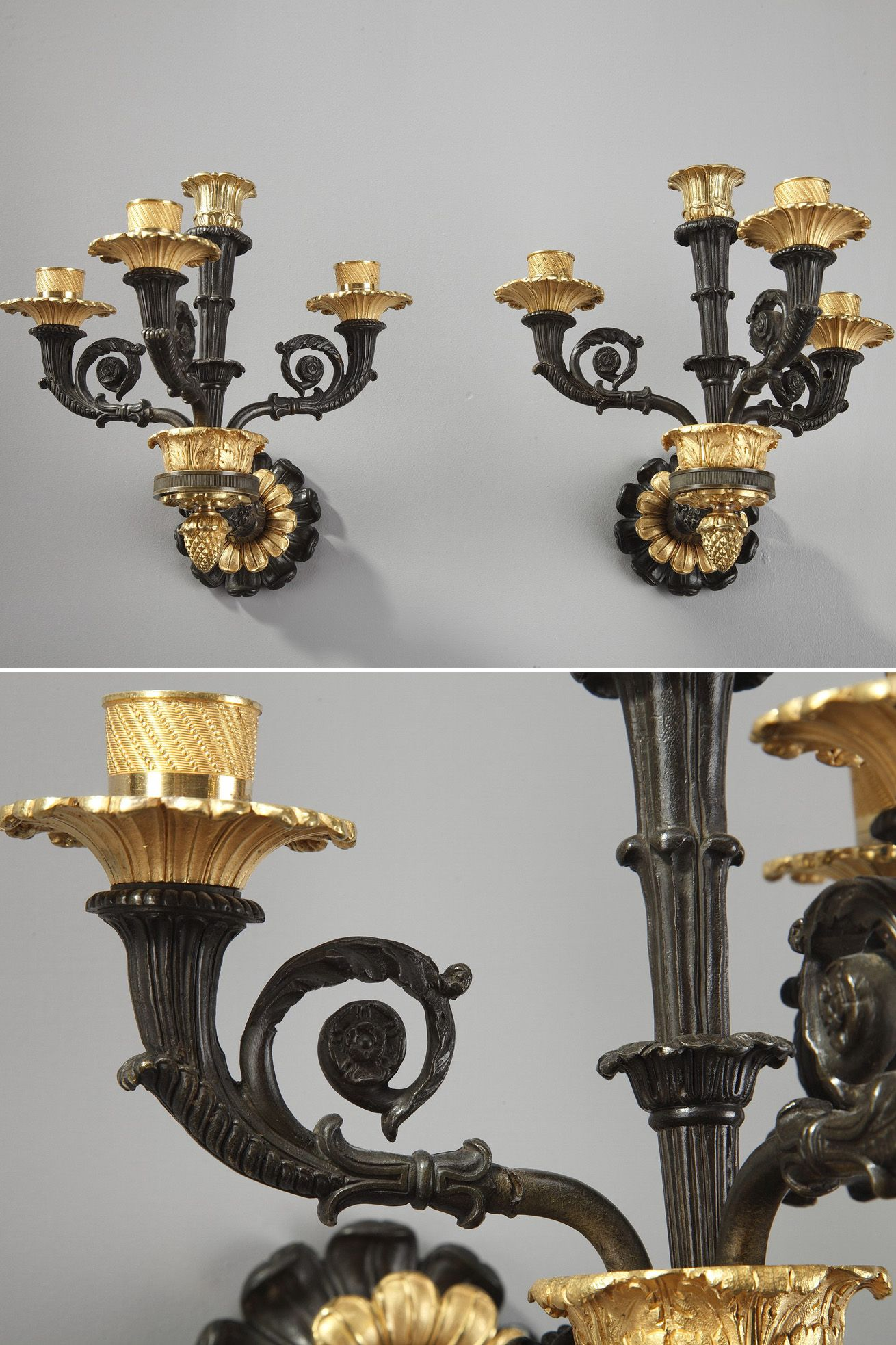 Wired Wall Sconces 19th Century 4 Light Gilt And Patinated Bronze Antique