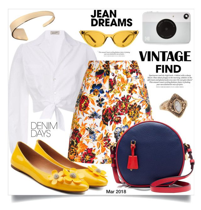 """""""Jean Dreams: Denim Skirts"""" by shiroh ❤ liked on Polyvore featuring Temperley London, MSGM, Marc Jacobs, J.Crew, Illesteva, Forever 21, H&M, Kodak, croptops and denimskirts"""