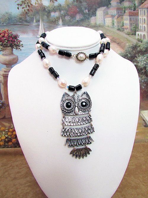 Pearl, Black Onyx and Crystal Necklace with  Owl  Pendant - P18 by daksdesigns on Etsy