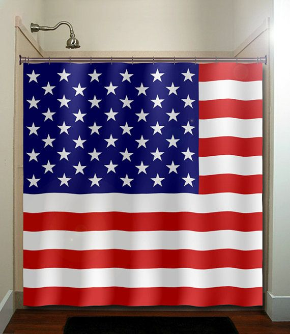 America United States Usa Flag Shower Curtain Extra Long Fabric