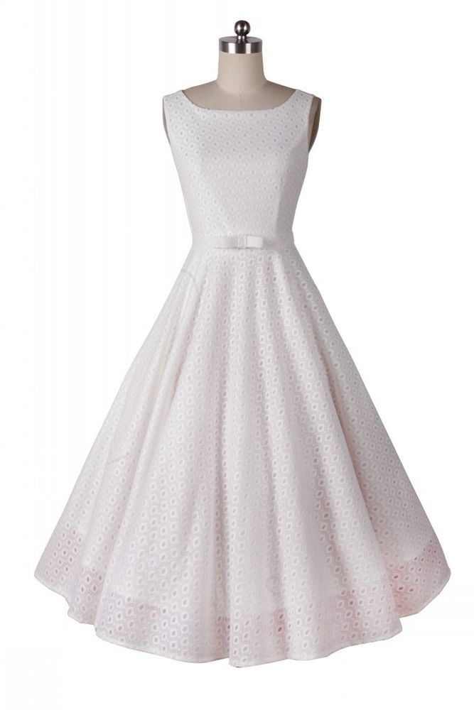 b16d10a3f7f66 White Lace Rockabilly Vintage 1950s 60sHousewife Prom Party Cocktail ...
