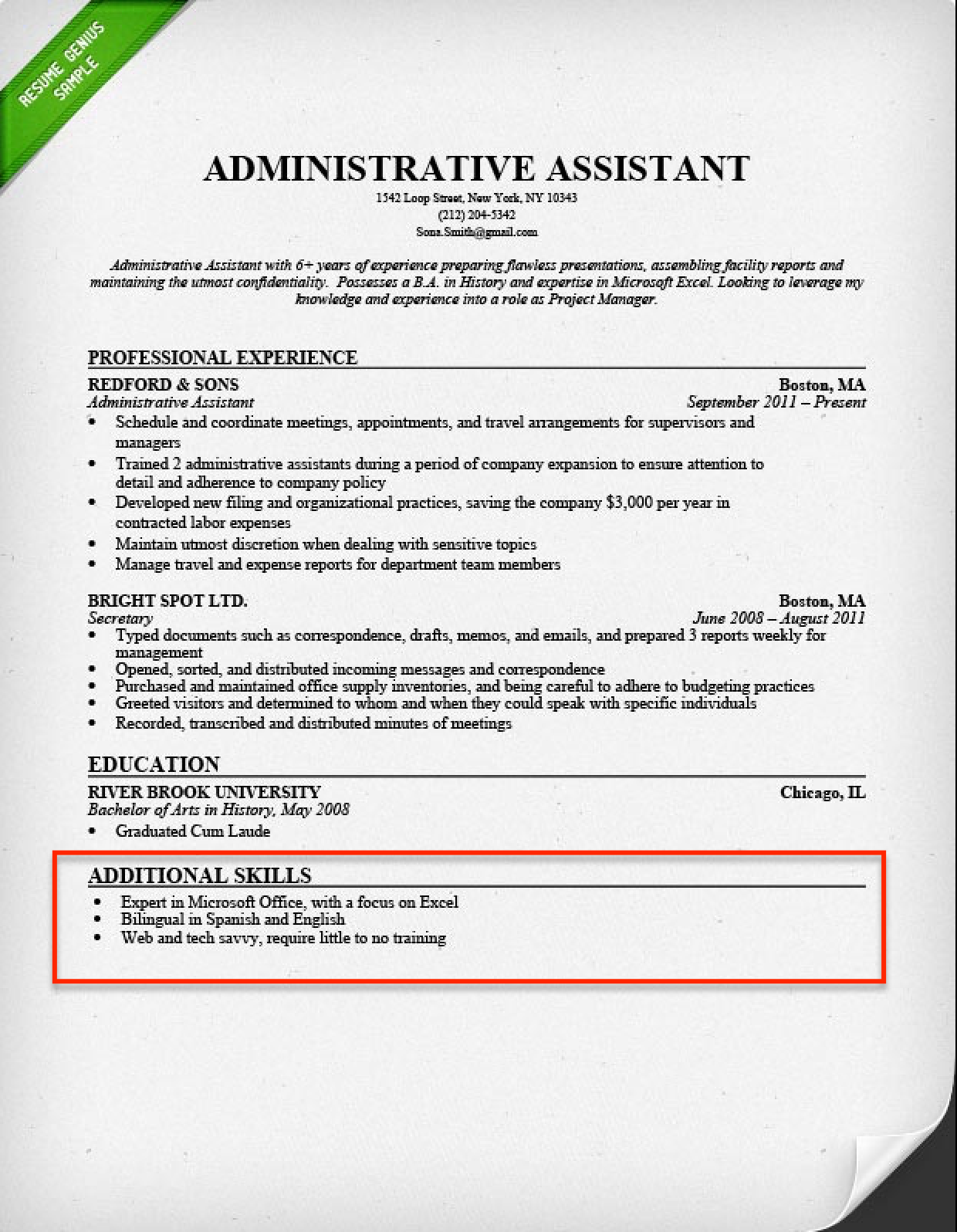 Resume Writing Skills Section Examples