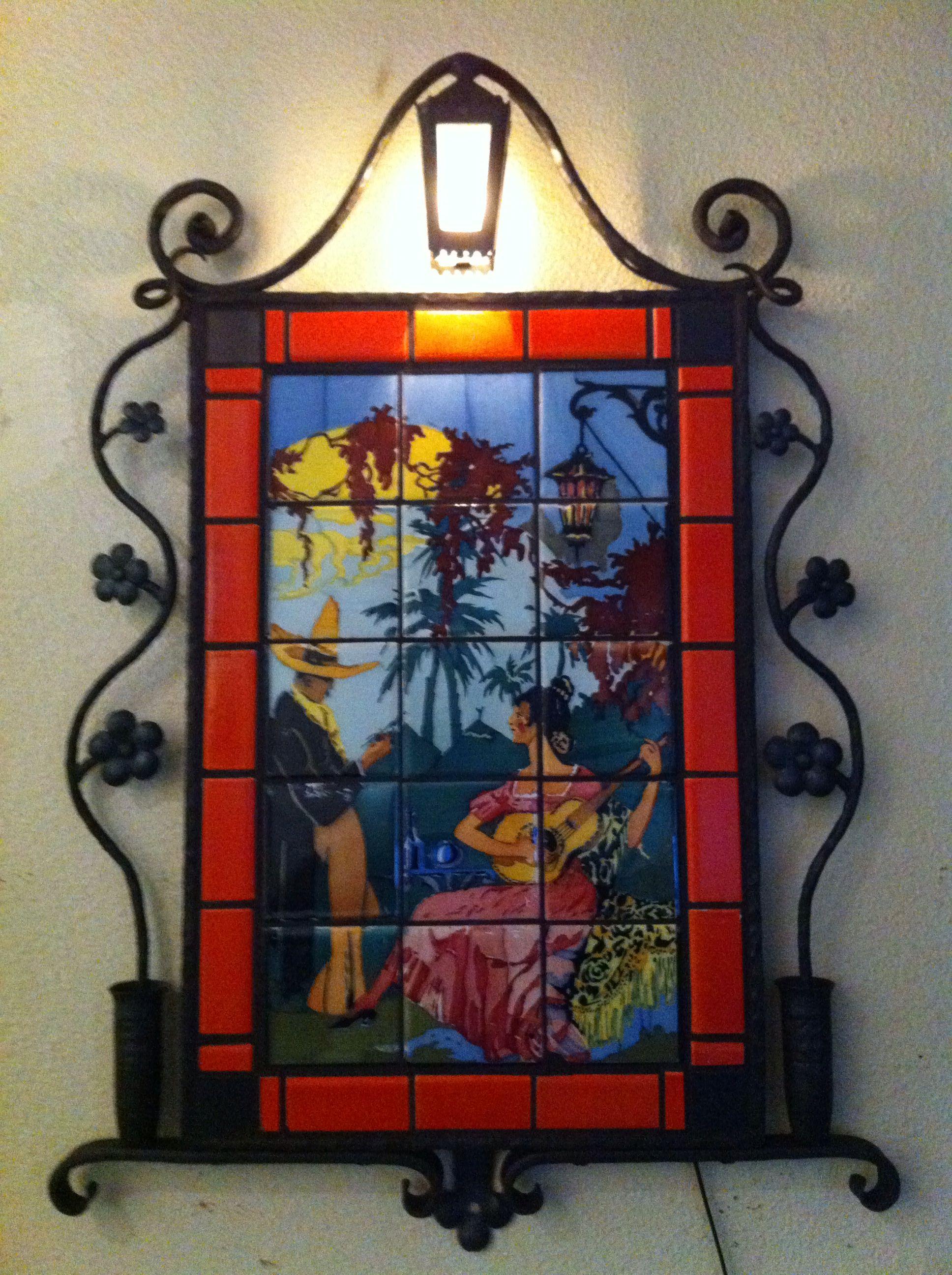 Vintage Tile Mural In Our Custom Iron Frame Tile Murals