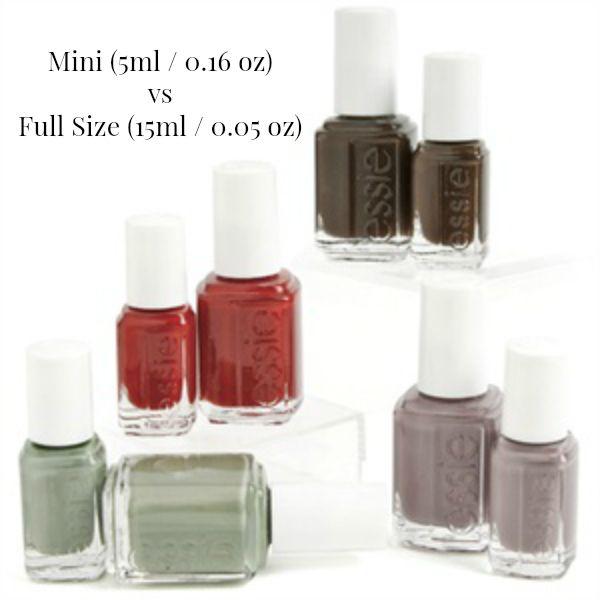Essie Full Size And Mini Bottles Comparison Image Nail Polish