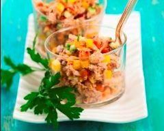 Salade froide de thon, maïs et poivrons