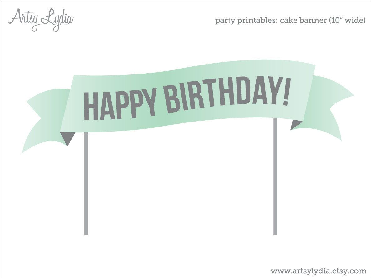 Cake Topper Banner Diy Party Printable By Artsylydia On Etsy 6 00
