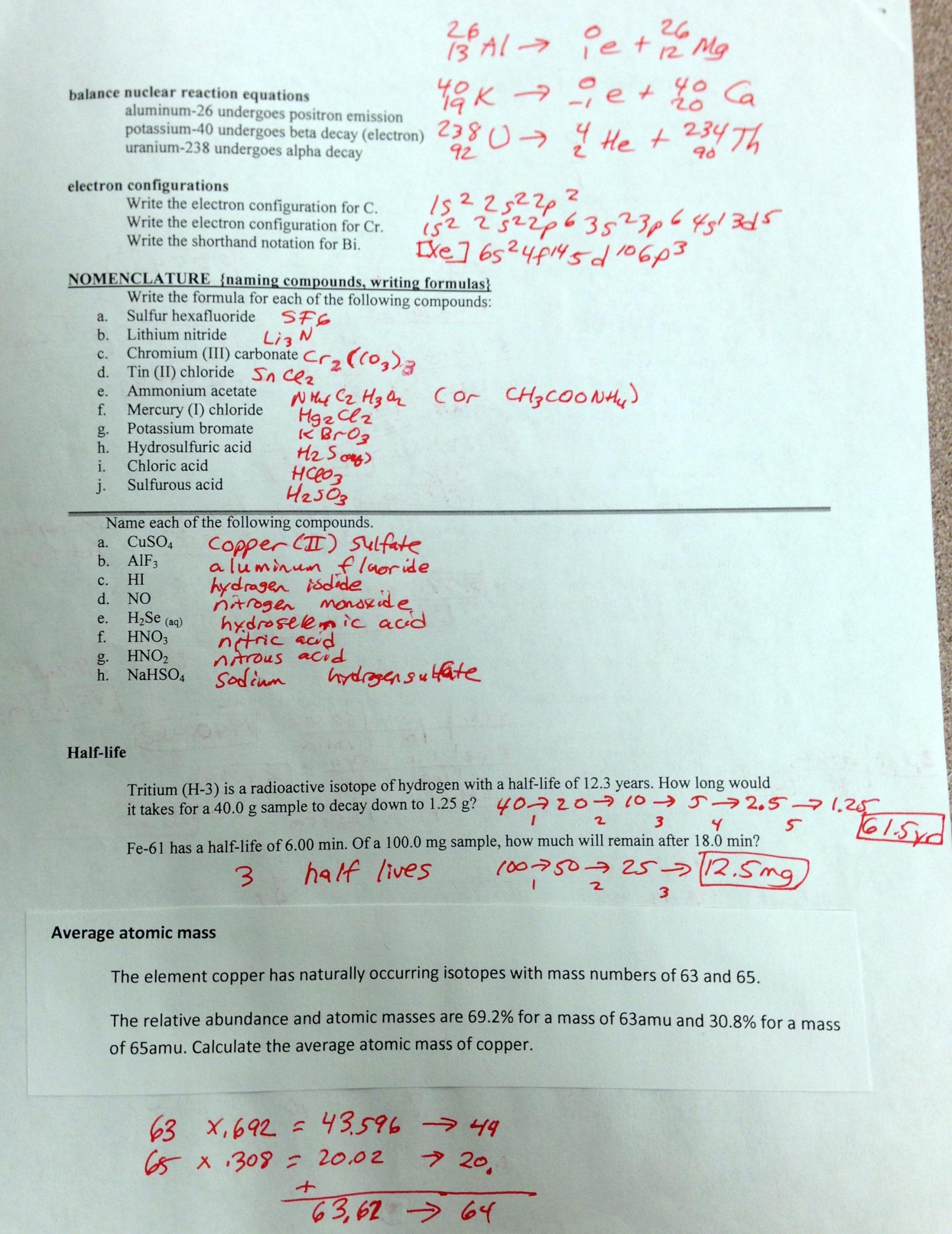 Nuclear Chemistry Review Worksheet Chemistry I Honors In