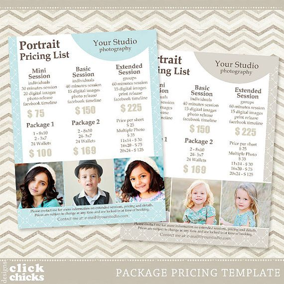 Photography Package Pricing List Template By Clickchicksdesigns