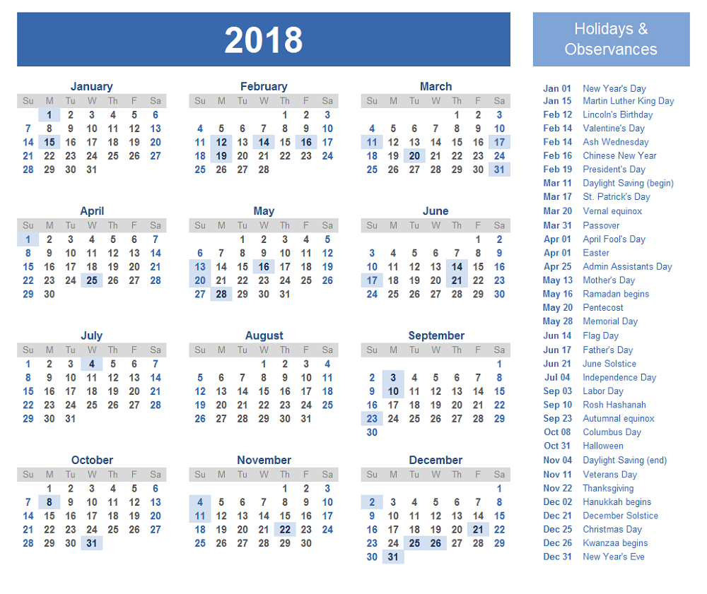 Calendars 2018 Printable With Holiday Printable Calendars