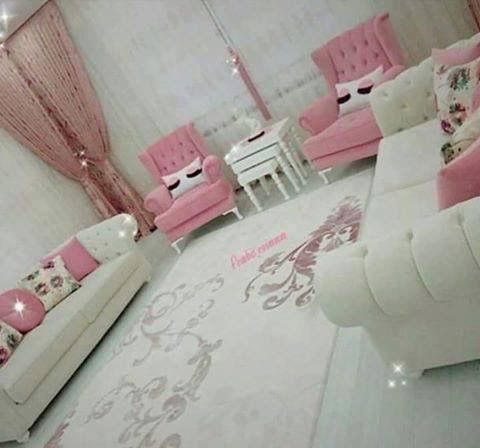 White furniture w pink accents