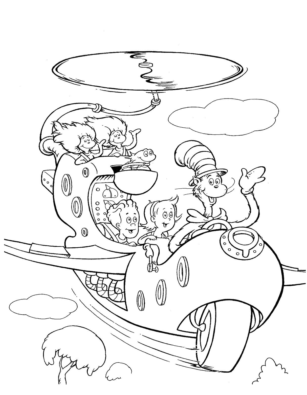 cat in the hat coloring pages Download
