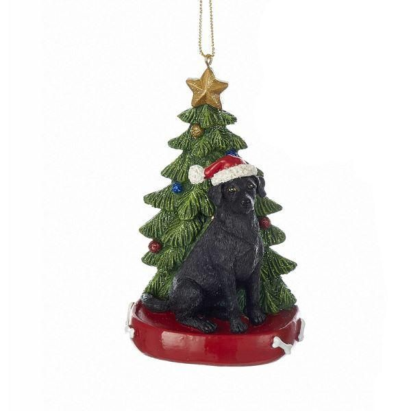"4.25"" RESIN BLACK LABRADOR RETRIEVER With TREE Ornament"