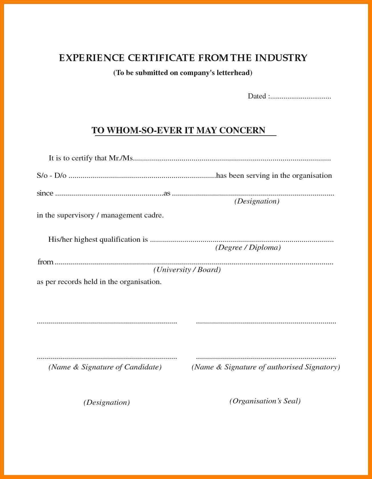 Experience Certificate Sample In Pdf Fresh 3 Job
