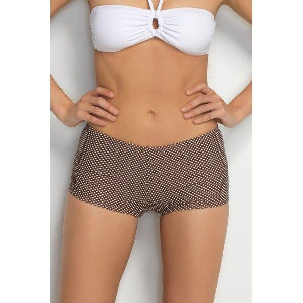 d933bfce9f3 Hapari Brown Polka Dot Boy Short Swim Bottom ( 29) ❤ liked on Polyvore  featuring swimwear