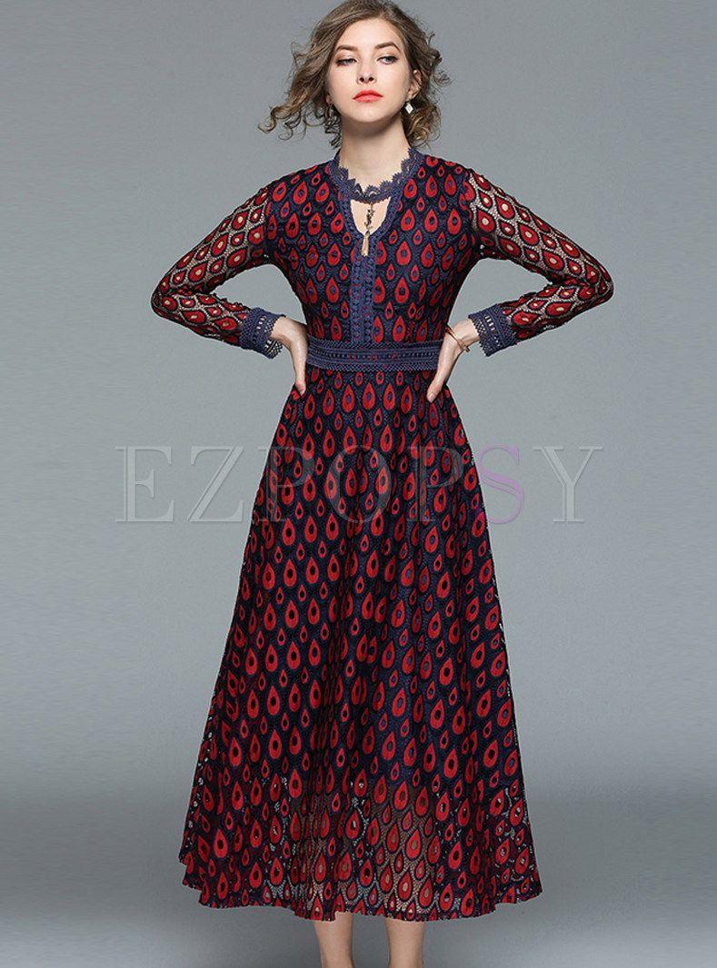Hollow out vneck big hem lace maxi dress راحتی pinterest