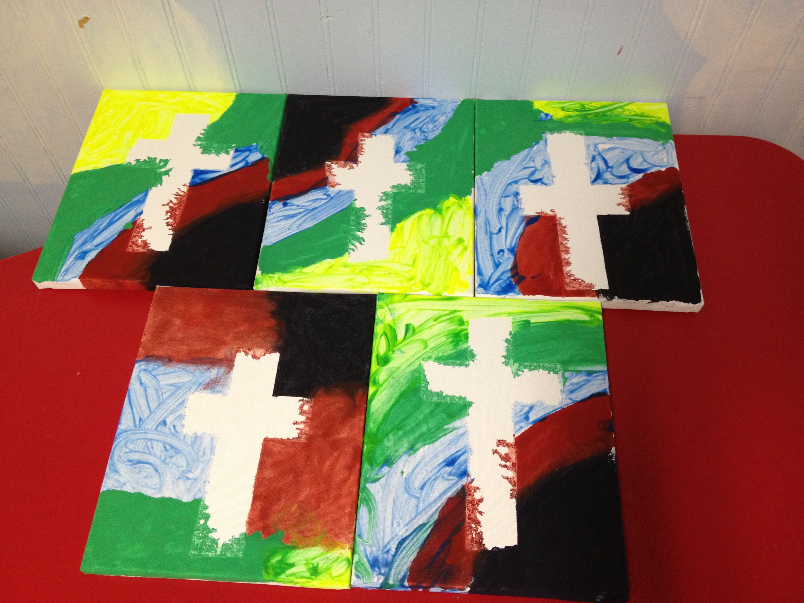 Colors of salvation. Painter\'s tape for the cross. Black is for sin ...