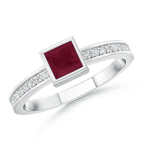 A Quality Square Ruby Ring with Round Diamonds in 14K White Gold