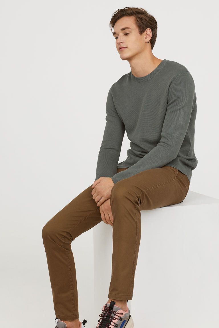 Cotton chinos skinny fit chinos men outfit mens