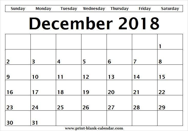 Print Editable Calendar December 2018 Sheet Printblank Pinterest