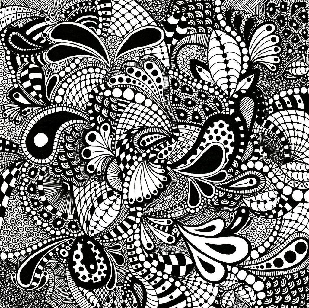 Line Art Zentangle : Zentangle drawn on quot bristol board
