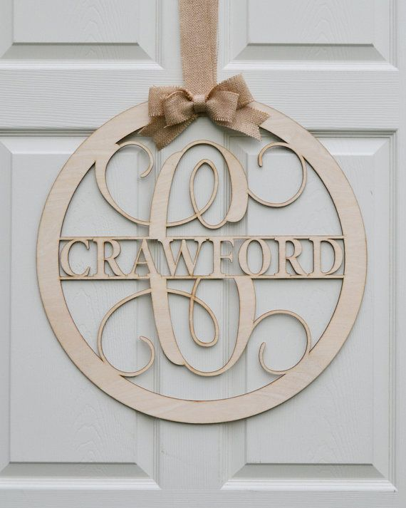 "Wooden Monogram Wall Hanging 24"" wooden monogram - unpainted vine script monogram - family name"