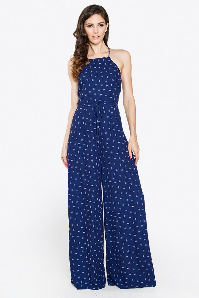 19fd59a12a3 Printed sleeveless wide leg jumpsuit - High square neck line - Open back  with criss cross straps - Waist tie - Lined - Color  White Navy Size + Fit  - Model ...