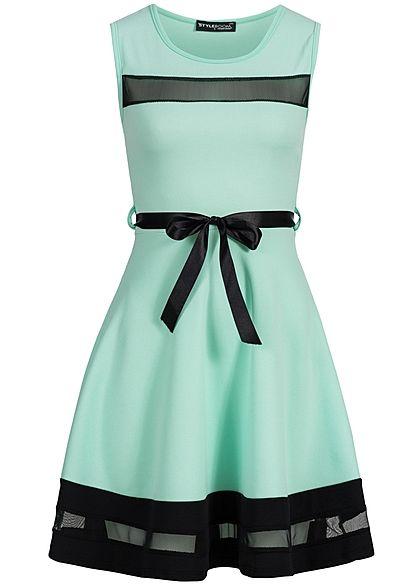 dc586f02d2552f Styleboom Fashion Damen Mini Kleid teils transp Bindeband mint grün Styleboom  Fashion Kleider