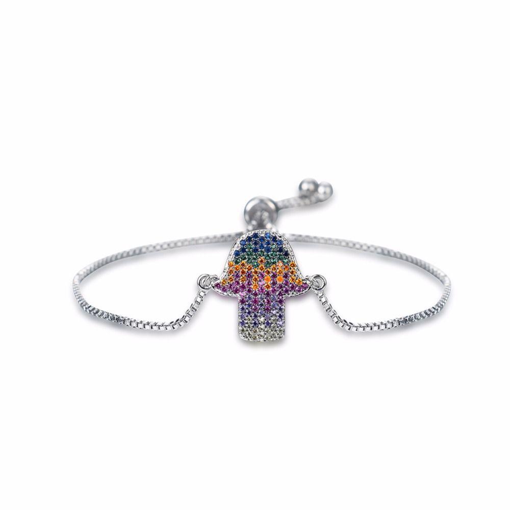 Stainless steel fatima hamsa hand bracelet women men simple charm