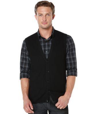 c46a2ce34c Perry Ellis Solid Textured Sweater Vest