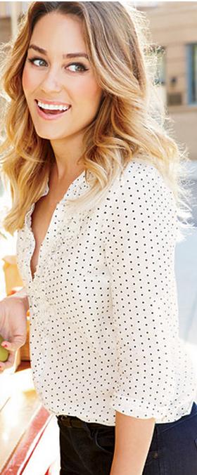 Lauren Conrad wore a polka dot button down ruffle top. #blackandwhite