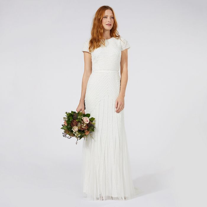 Nine by Savannah Miller Ivory \'Anabella\' frilled bridal dress ...