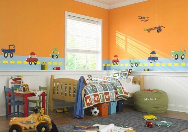 Attractif Farb Wandgestaltung Orange Wand Autos Jungenzimmer Einrichtung