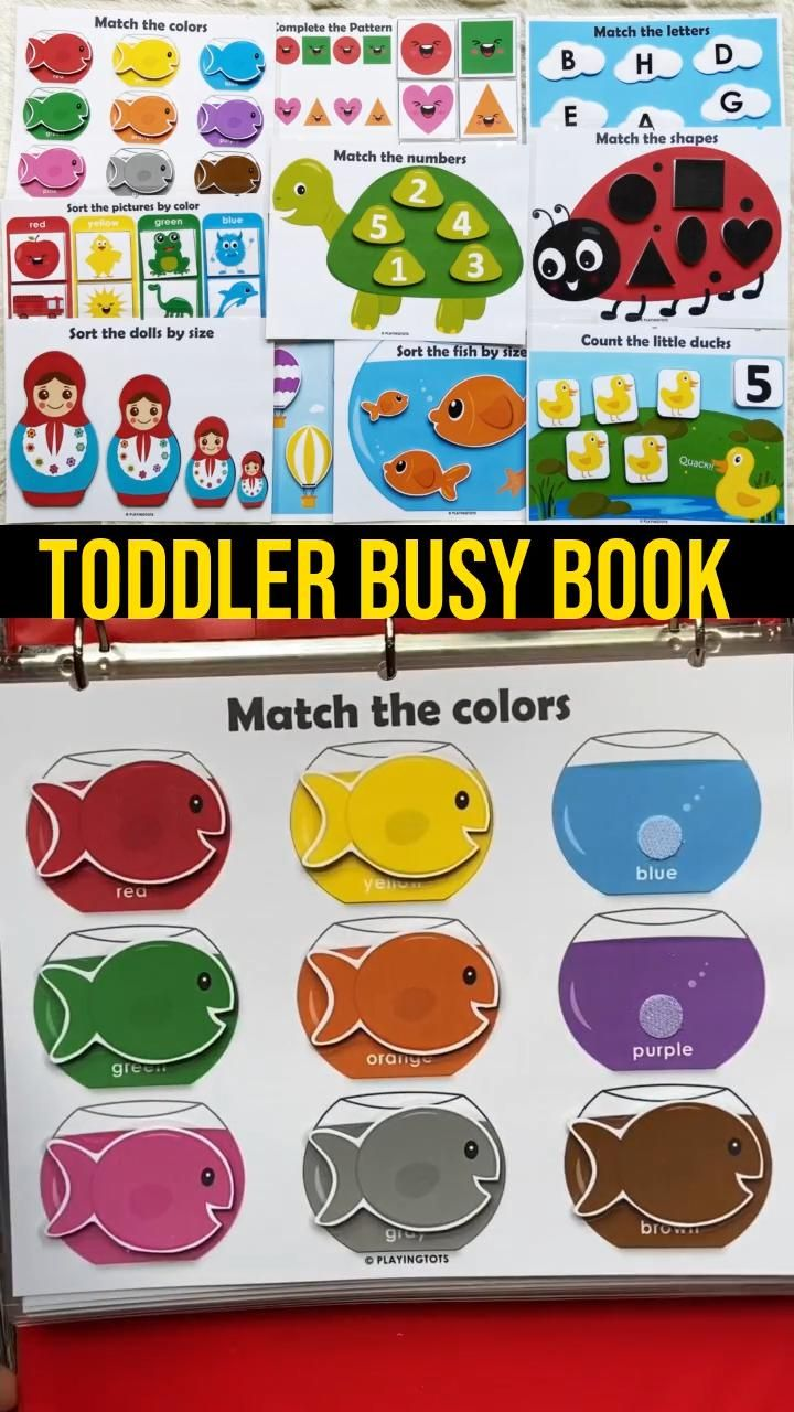 Toddler Busy Book, Quiet Book, First Learning Binder, Homeschool