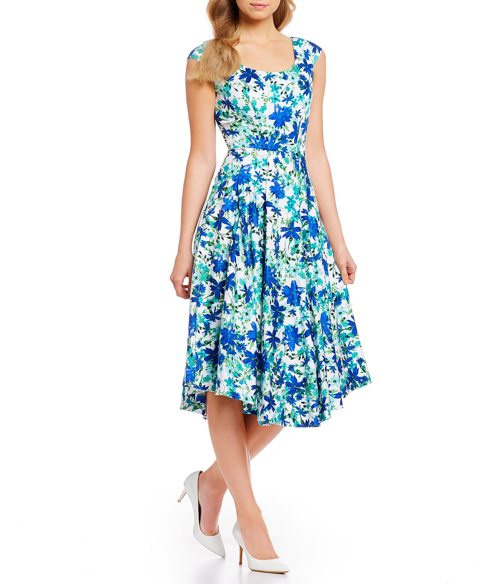 56059d6762e1 Shop for Calvin Klein Floral Print Cap Sleeve Fit and Flare Midi Dress at  Dillards. Visit