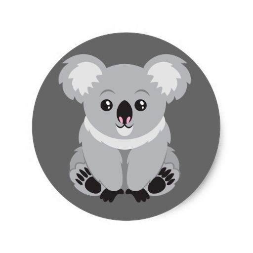 Cute Animated Koala Bear Classic Round Sticker Zazzlecom In 2019