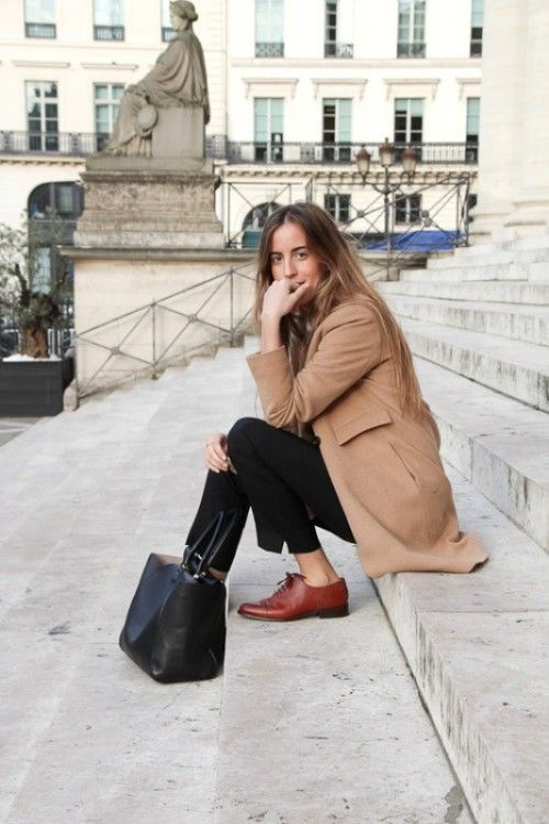 Women's Camel Coat, Black Dress Pants, Brown Leather Oxford Shoes, Black  Leather Tote Bag