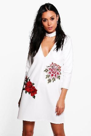 69b07c25dad6 #boohoo Embroidered Choker Shift Dress - white DZZ61778 #Taylor Embroidered  Choker Shift Dress - white