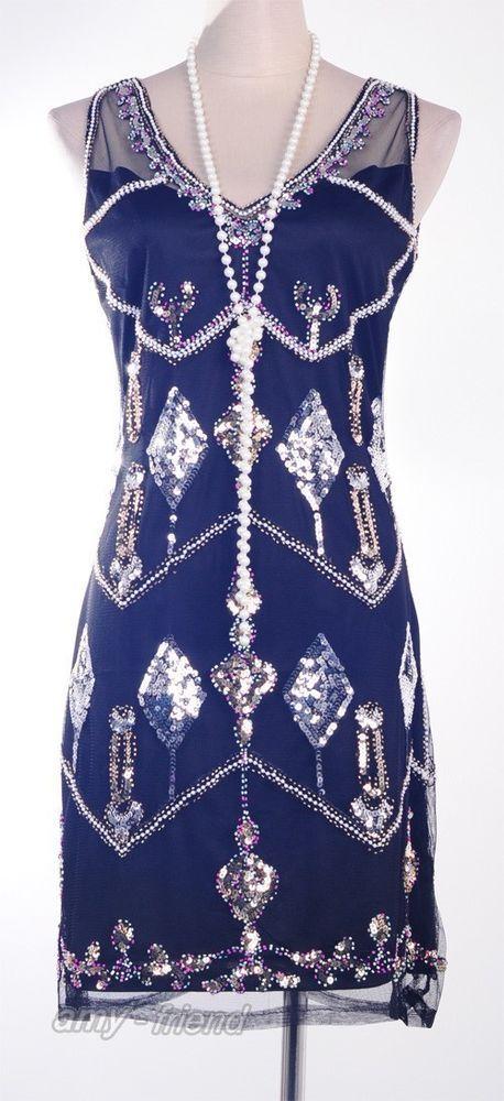 Gatsby 1920 s Vintage Dress Black Sequin Downton Abbey Art Deco Party AF 3243