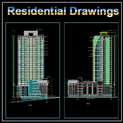 32 floor residential drawings cad design download cad - Autocad home design software free download ...