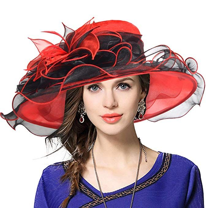 bafd5b47 Kentucky Derby Hat Wide Brim Flounce Cocktail Tea Party Bridal Dress Church  Hat (09-Grey) at Amazon Women's Clothing store: