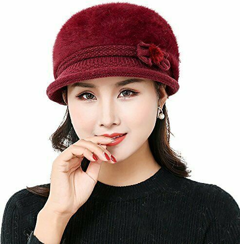 238d564f924 YI HENG MEI Beanie Hats with Visor Cute Wool Cap Warm Headwear Chemo Cancer  for
